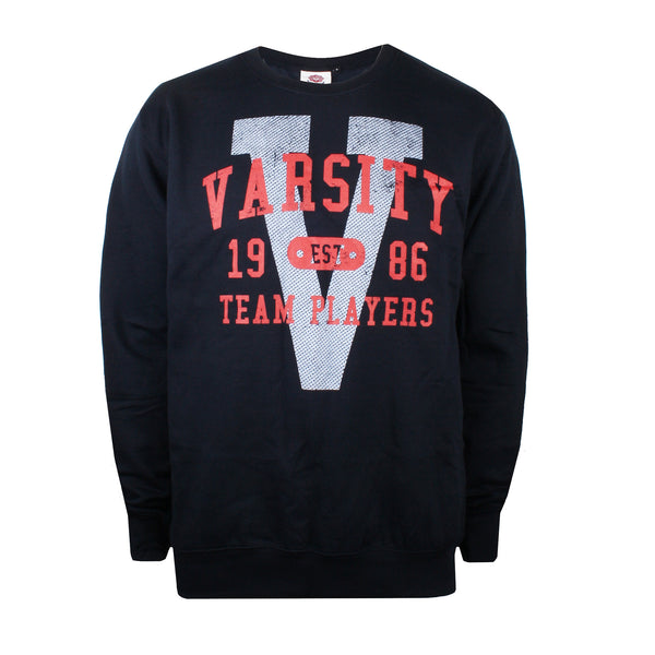 Varsity Mens - Varsity Arch - Crew Sweat - Navy - CLEARANCE