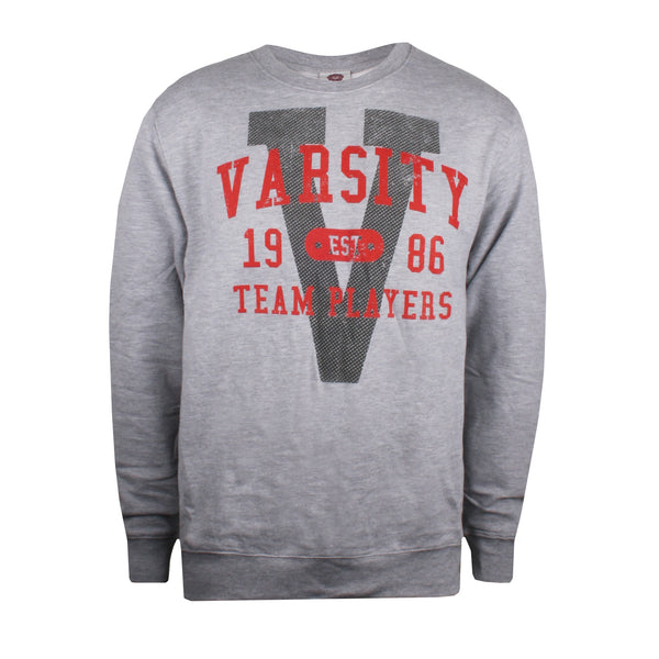 Varsity Mens - Varsity Arch - Crew Sweat - Grey Heather - CLEARANCE