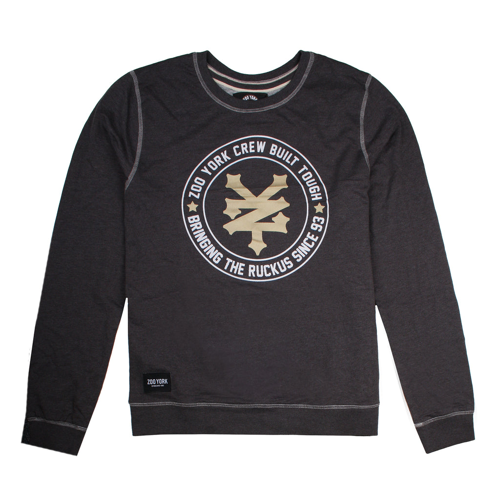 Zoo York Mens - Ruckus - Crew Sweat - Dark Grey Marl - CLEARANCE