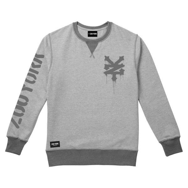 Zoo York Mens - Stencil - Crew Sweat - Grey Heather - CLEARANCE