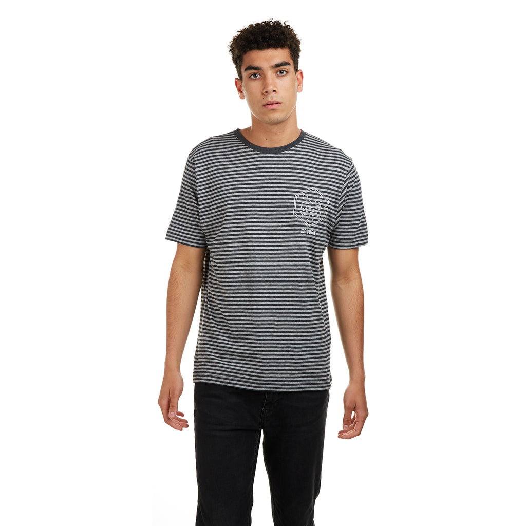 Zoo York Mens - Auburn Striped - T-Shirt - Charcoal/ Grey Heather