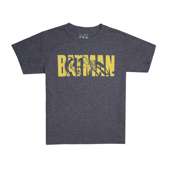 DC Comics Boys - Batman Text - T-Shirt - Graphite Heather/Yellow
