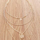 Bohemian Beach look Dames 4-laags ketting Goud