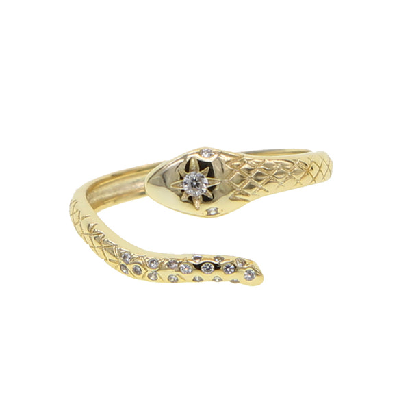 Trendy Dames ring snake goud