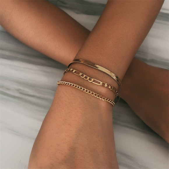 Dames Basic Beach look armbanden set Goud/Zilver