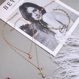 Fashion 3-laags gouden ketting met Roos