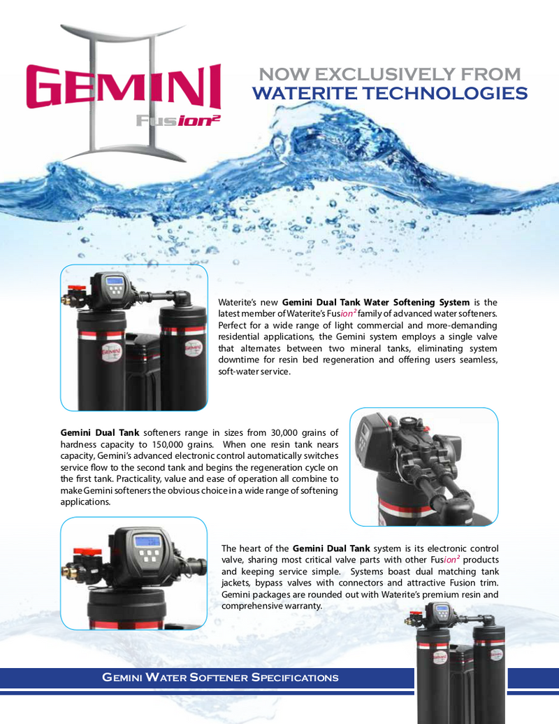 WS Gemini Dual Water Softener 60K  Free Ship