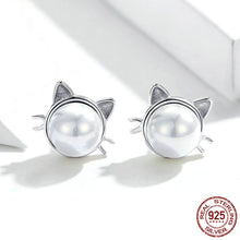 "Load image into Gallery viewer, ""I Love My Cat"" Sterling Silver Earrings"