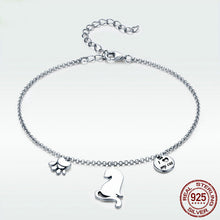 "Load image into Gallery viewer, ""I Love My Cat"" Sterling Silver Bracelet"
