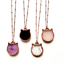 "Load image into Gallery viewer, ""I Love My Cat"" Rose Quartz Cat Necklace"