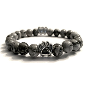 """Forever In My Heart"" Grey Marble Bead Bracelet (Double Heart Charm)"
