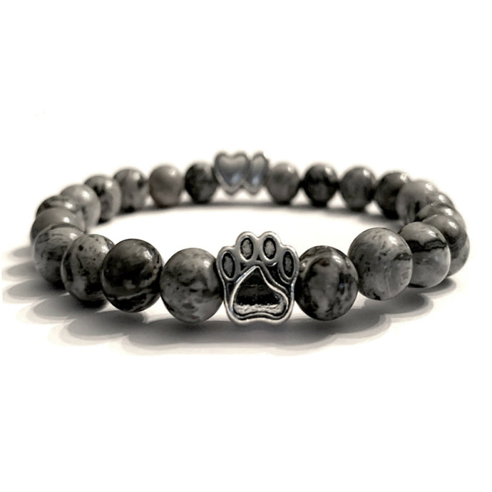 Grey Marble Bead Bracelet (Double Heart Charm)