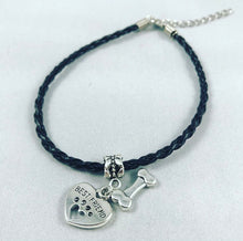 "Load image into Gallery viewer, ""My Dog Is My Best Friend"" Black Cord Bracelet"