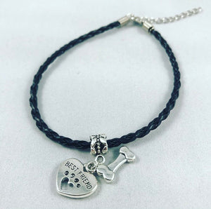 """My Dog Is My Best Friend"" Black Cord Bracelet"