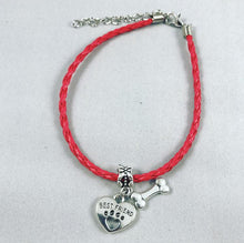 "Load image into Gallery viewer, ""My Dog Is My Best Friend"" Red Cord Bracelet"