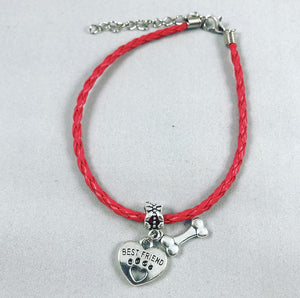 """My Dog Is My Best Friend"" Red & Black Cord Bracelet Bundle"