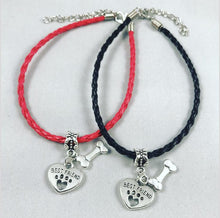 "Load image into Gallery viewer, ""My Dog Is My Best Friend"" Red & Black Cord Bracelet Bundle"