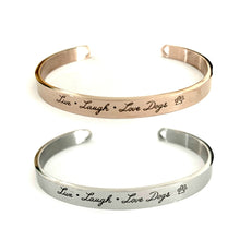 "Load image into Gallery viewer, ""Live, Laugh, Love Dogs"" Stainless Steel Bangle Stack (Rose Gold & Silver)"