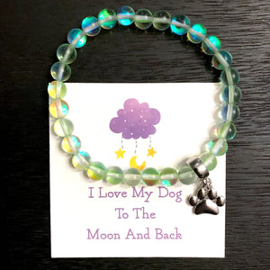 """I Love My Dog To The Moon And Back"" Green Galaxy Moonbeam Bracelet"