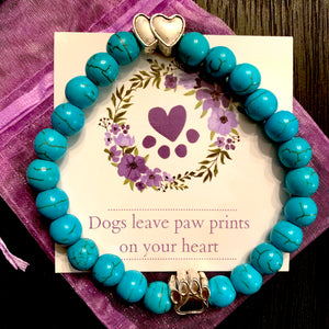 """Forever In My Heart"" Aquamarine Stone Bead Bracelet"