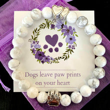 "Load image into Gallery viewer, ""Forever In My Heart"" White Marble Bead Bracelet (Double Heart Charm)"