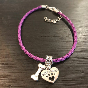 """My Dog Is My Best Friend"" Purple Cord Bracelet"