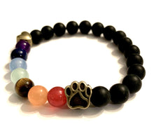 "Load image into Gallery viewer, ""Over The Rainbow Bridge"" Black Agate Natural Stone Bead Bracelet (Cat)"