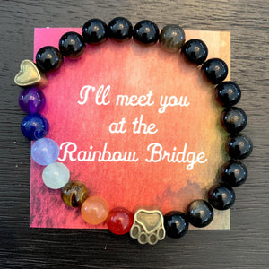 """Over The Rainbow Bridge"" Premium Obsidian Stone Bead Bracelet (Cat)"