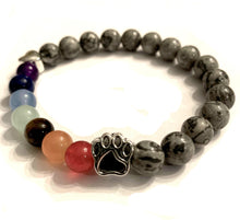 "Load image into Gallery viewer, ""Over The Rainbow Bridge"" Grey Marble Natural Stone Bead Bracelet"