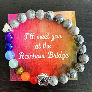 """Over The Rainbow Bridge"" Grey Marble Natural Stone Bead Bracelet (Cat)"