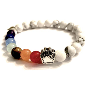 """Over The Rainbow Bridge"" White Marble Natural Stone Bead Bracelet (Cat)"
