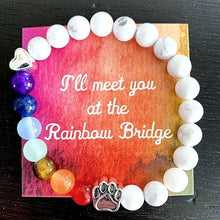 "Load image into Gallery viewer, ""Over The Rainbow Bridge"" White Marble Natural Stone Bead Bracelet (Cat)"