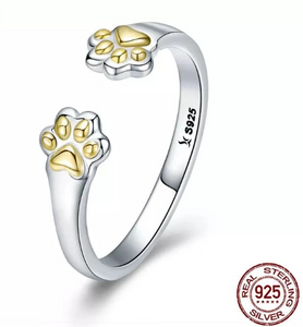 """Love You Forever"" Sterling Silver Paw Ring"