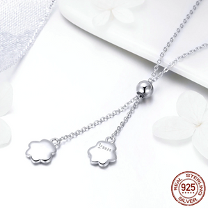 """Love You Forever"" Sterling Silver Paw Necklace"
