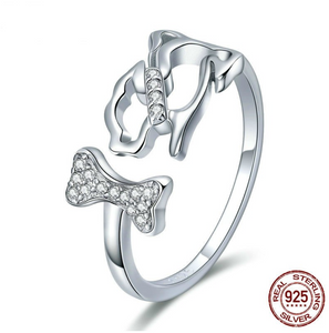 """Love is Four Paws"" Sterling Silver Ring"