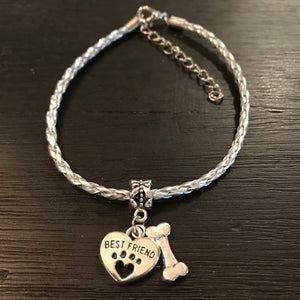 """My Dog Is My Best Friend"" Silver Cord Bracelet"