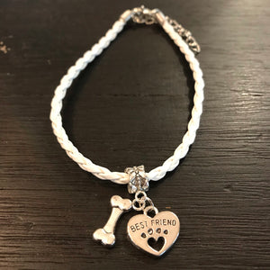 """My Dog Is My Best Friend"" White Cord Bracelet"