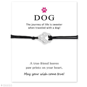 "Black ""Wish Upon A Paw"" Charm Bracelet"