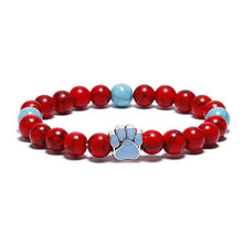 Load image into Gallery viewer, BOGO SALE - Ruby & Turquoise Classic Paw Bead Bracelet