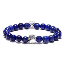 "Load image into Gallery viewer, ""Forever In My Heart"" Lapis Bead Bracelet (Heart Charm)"