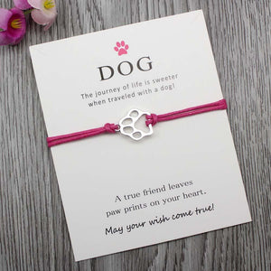"Pink ""Wish Upon A Paw"" Charm Bracelet"
