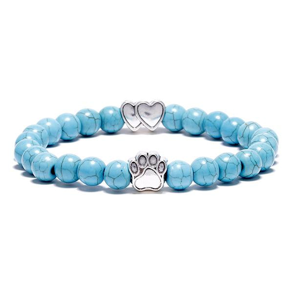 Aquamarine Bead Bracelet (Double Heart Charm)