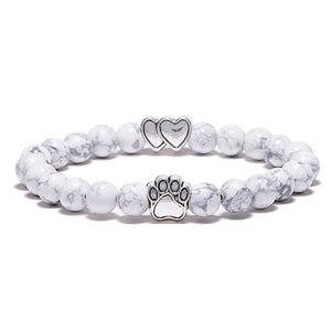 """Forever In My Heart"" White Marble Bead Bracelet (Double Heart Charm)"