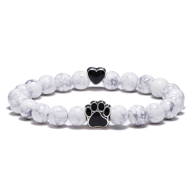 White Marble Stone Bead Bracelet with Black Charms (Heart Charm)