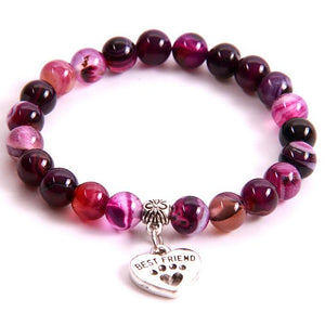 """My Dog Is My Best Friend"" Amethyst Stone Bead Bracelet"