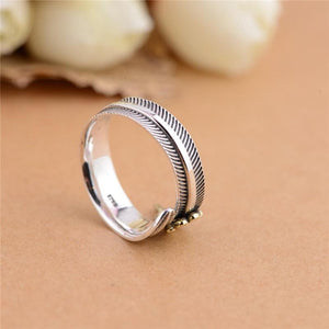 """All Dogs Go To Heaven"" Sterling Silver Angel Feather Ring w/ Rainbow Bridge Bracelet (White Marble)"