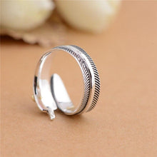 "Load image into Gallery viewer, ""All Dogs Go To Heaven"" Sterling Silver Angel Feather Ring"