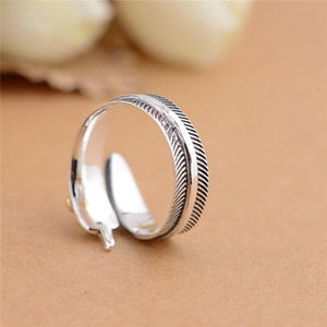 """All Dogs Go To Heaven"" Sterling Silver Angel Feather Ring"