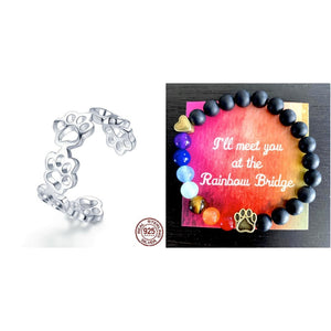 """Forever Walking By My Side"" Sterling Silver Ring w/ Black Agate Rainbow Bridge Bracelet"