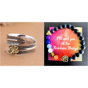 """All Dogs Go To Heaven"" Sterling Silver Angel Feather Ring w/ Rainbow Bridge Bracelet (Black Agate)"